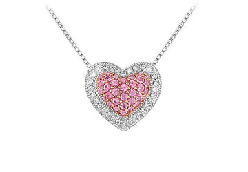 Pink Sapphire And Diamond Heart Pendant 14k White Gold