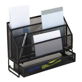 RolodexTM 62531 - Large Mesh Sorter with Drawer, 3 Sections, Steel, 4w x 9 3/8d x 12 1/8h, Blackrolodextm
