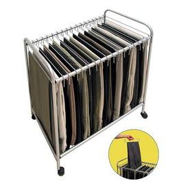 Wheeled steel rolling pants and necktie closet trolleywheeled