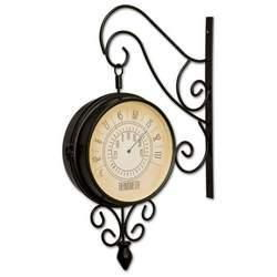 Kel Double Sided Train Station Style Clock Thermometer
