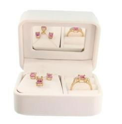 Emerald cut Pink Topaz Gold Ring, Pendant, Earrings Setemerald