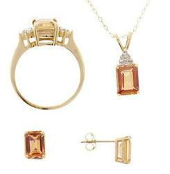 Emerald cut Twilight Topaz Diamond Gold Ring, Pendant, Earrings Setemerald