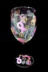 Pretty in Pink Design - Hand Painted - Wine Glass - 8 oz.pretty