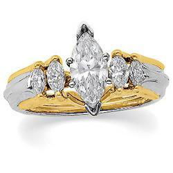 14K Two Tone Gold Diamond Bridal Enhancer Ringtwo