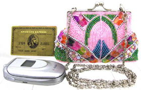 Fully Beaded Purse - Pinkfully