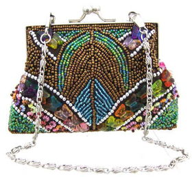 Fully Beaded Purse - Brownfully