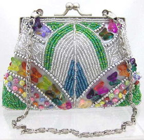 Fully Beaded Purse - Silverfully