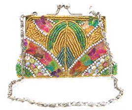 Fully Beaded Purse - Goldfully