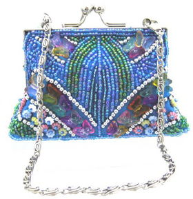 Fully Beaded Purse - Turquoise    fully