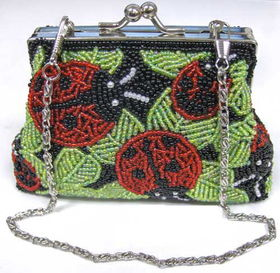 Fully Beaded Purse - Lady Bugfully