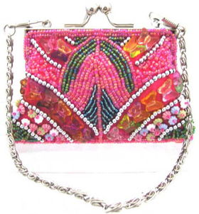 Fully Beaded Purse - Hot Pinkfully