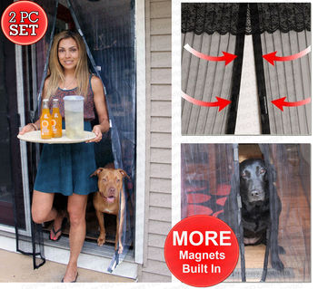 2 Magnetic Screen Mesh Doors - Walk Through Hanging Screen Door - Full Frame Velcro Mosquito Net, Close Automatically Tightly Keep Bugs Out, Lets Fresh Air In, Toddler And Pet Friendly - Deluxe Setmagnetic