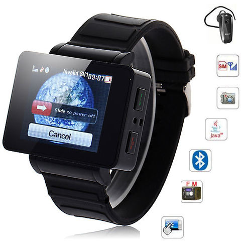 Touch Screen Watch Cell Phone i5 1.75 inch Java FM Single Card Black MP3 MP4 Bluetooth