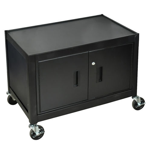 "Offex Mobile Lockable Steel Storage Cabinet 29"""" H With Ball Bearing Casters - Black"