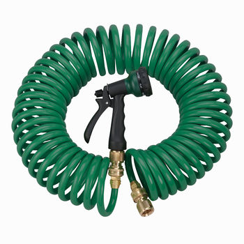 Green Coil Garden 25' Hose w/ 7 Pattern Spray Nozzle