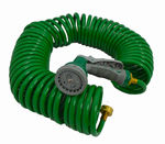 Green Coil Garden 100 Hose w/ 7 Pattern Spray Nozzle
