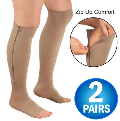 Zipper Compression Socks, Knee Length, Open Toe Hose - 2 Pairs