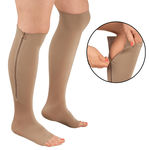 Zipper Pressure Compression Support Socks  - Open Toe - Knee High - 20-30mmHg - 1 Pair