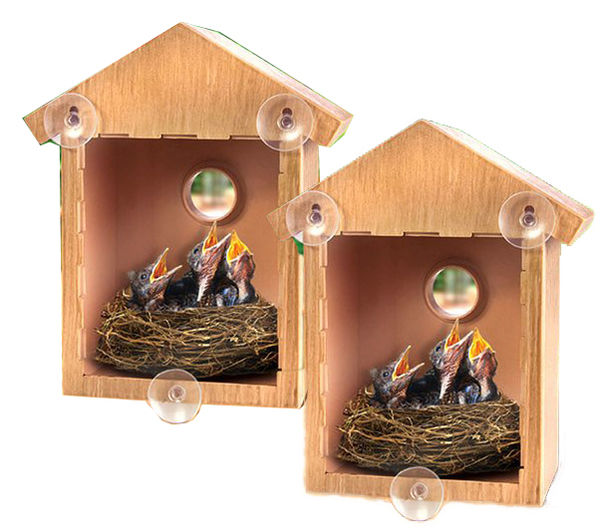 2 - See Through One Way Mirrored Bird House - Suction Cup Window Mounted Bird Nesting Box