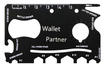 Wallet Partner - 19 in 1 Credit Card Sized Steel Pocket Multi Tool - Stainless Steel Survival Multitool Utility