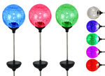 6 Pc - Solar LED Color Changing Crackle Glass Globe