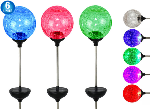 6 Pc - Solar LED Color Changing Crackle Glass Globe - Large