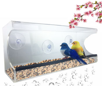 Large Window Suction Cup Bird Feeder - Clear, Removable Tray & Drain Holes