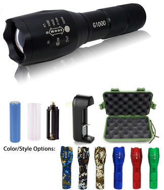 1 - G1000 Portable Zoomable Tactical LED Flashlight - 2000 Lumens