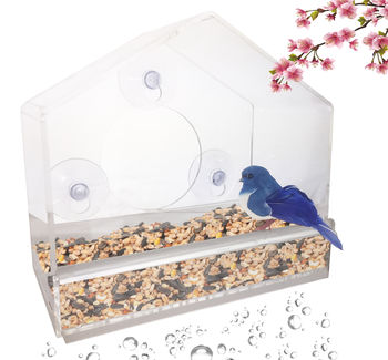 Window Bird Feeder - Clear, Removable Tray & Drain Holes