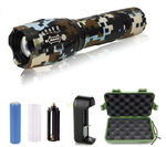 2 - G1000 Portable Zoomable Tactical LED Flashlight - 2000 Lumens - Dark Brown Camo