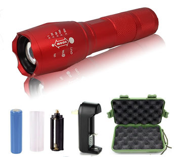 2 - G1000 Portable Zoomable Tactical LED Flashlight - 2000 Lumens - Red
