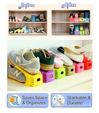 2 Shoe Storage Slot Organizer Rack   Space Saving Shelf Storage