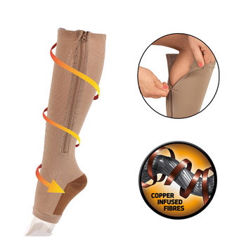 Copper Energy Infused Zipper Compression Socks - Zip Up Circulation Pressure Stockings - 2 Pairs
