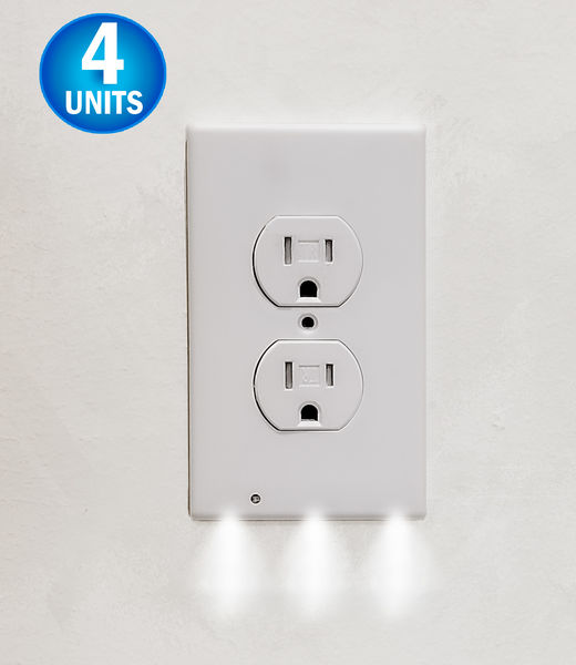 Wall Outlet LED Night Light - Easy Snap On Outlet Cover Plate - No Wires Or Batteries Needed - 4 Pack