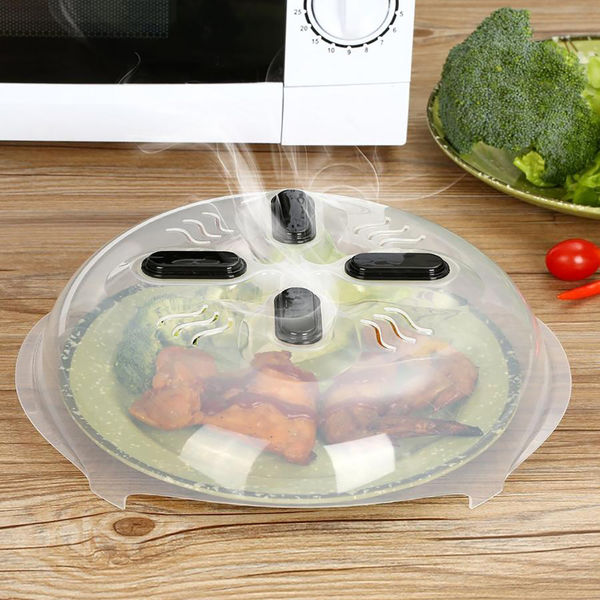 2pc - Microwave Hover Anti Splattering Magnetic Food Cover - Microwave Splatter Lid with Steam Vents
