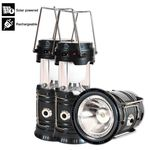 2 Solar Rechargeable Tactical 3-in-1 Bright Collapsible LED Lantern, Flashlight, And USB Charging Station