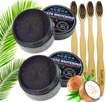 2 Charcoal Teeth Whitening Powder, Natural Activated Charcoal Coconut Shells + 4 Bamboo Toothbrushes - Safe Effective Tooth Whitener Solution