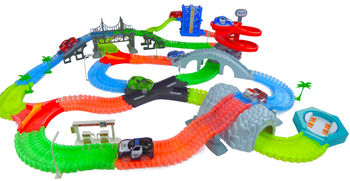 Magical Twisting Glow In the Dark Light Up Race Car Tracks - Ultimate Set
