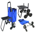 Dolly Climbing Stair Trolley Cart w/ Seat - Foldable Storage Grocery Cart With Tri-Wheels & Seat