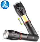 2 Tactical LED Zoomable Flashlight & Retractable COB Work Light Lantern Combo Pro  -  CREE L2 LED Ultra Bright Light, Magnetic Base, Weather Resistant, Military Tough Design & Pocket Size Torch