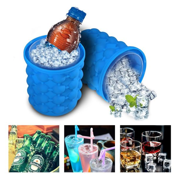 "ICE Cube Maker Genie - 3 In 1 -  Space Saving Silicone Ice Cube Maker, Ice Bucket & Beverage Holder - Hold Up To 120 ice cubes - Regular (4.1x4.3"")"