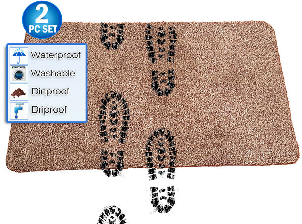 "2pc - Magic Super Absorbent Cleaning Fast Drying Step Mat - Non Slip Washable Doormat - 18"" x 28"""