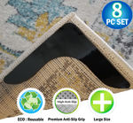 NEW - Reusable V Shaped Corner Area Carpet Rug Grippers - Reusable Rubber Anti Curling Non Slip Skid Pads - 8pc Set
