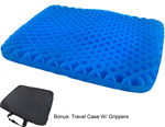Honeycomb Cooling Gel Support Seat Cushion with Non-Slip Breathable Cover - Ergonomic & Orthopedic Designed -  Absorbs Pressure Points