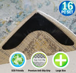 NEW - Reusable V Shaped Corner Area Carpet Rug Grippers - Reusable Rubber Anti Curling Non Slip Skid Pads - 16pc Set