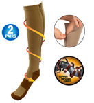 Copper Energy Infused Zipper Compression Closed Toe Socks - Zip Up Circulation Pressure Stockings - 2 Pairs