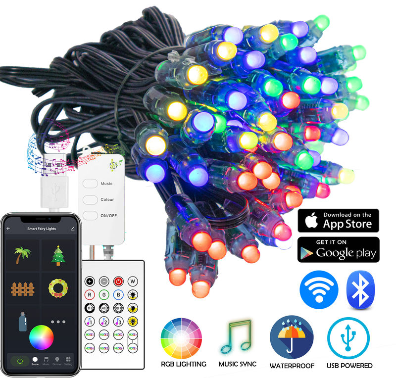 100 - WiFi App Enabled - Multicolor Smart LED RGB String ...