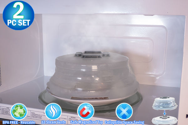 2 Microwave Collapsible Hover Anti Splattering Magnetic Food Cover - Microwave Splatter Lid with Steam Vents