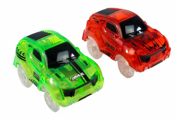 2 Magic Twister Flexible Glow In the Dark Race Car Track Vehicles - New Turbo Race Cars Addon Set