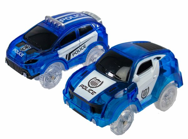 2 Magic Twister Flexible Glow In the Dark Race Car Track Vehicles - Turbo Police Pursuit Cars